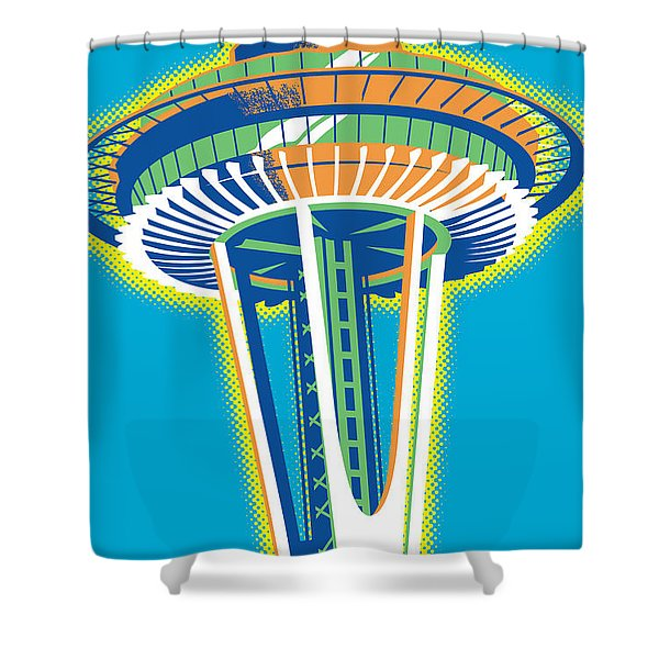 Space Needle Pop Art Shower Curtain