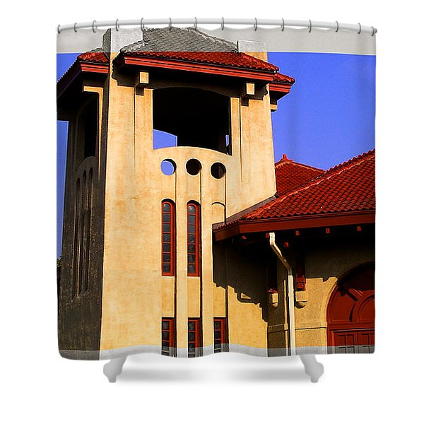 Spanish Architecture Tile Roof Tower Shower Curtain