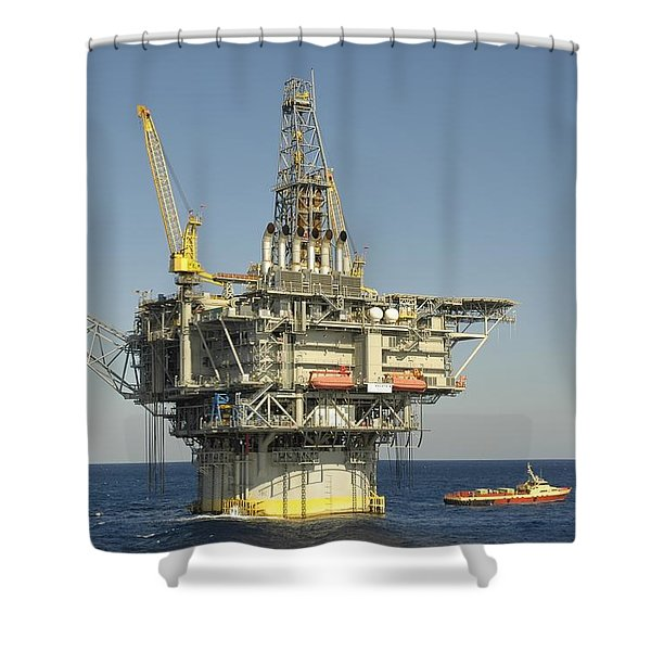 Spar Type Oil Rig With Flare And Boat Shower Curtain