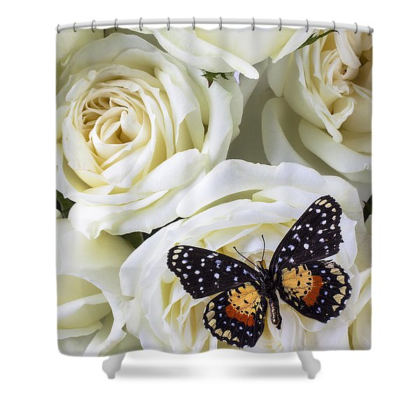 Speckled Butterfly On White Rose Shower Curtain