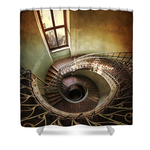 Shower Curtain featuring the photograph Spiral Staircaise With A Window by Jaroslaw Blaminsky