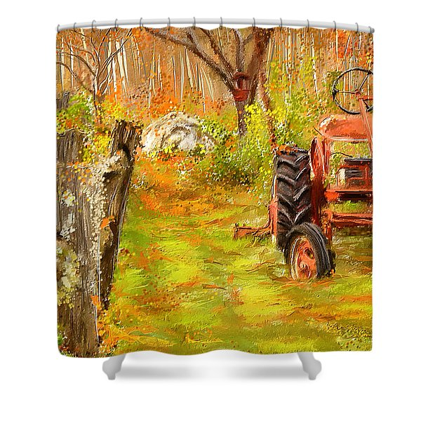 Splendor Of The Past - Red Tractor Art Shower Curtain