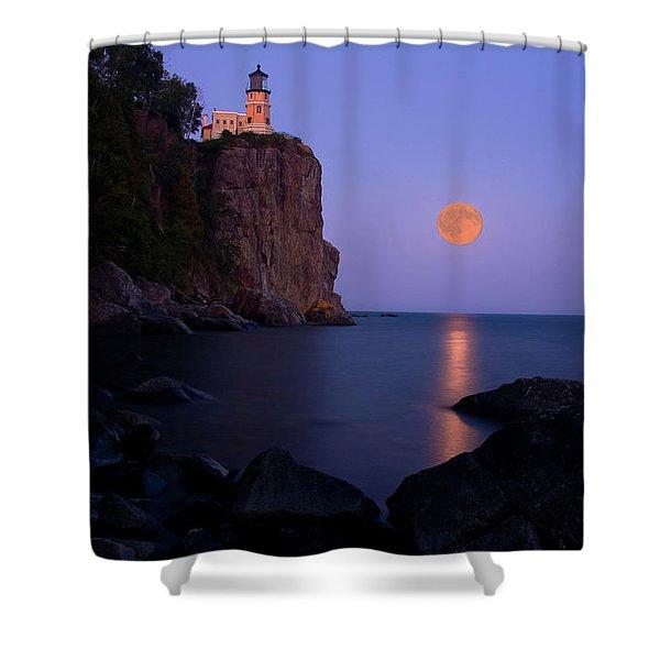 Split Rock Lighthouse - Full Moon Shower Curtain