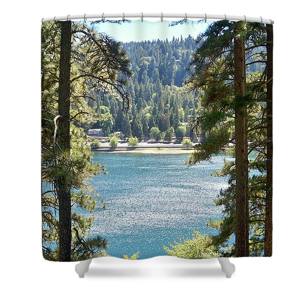 Forrest Mountain Trees Lake Scenic Photography Lake Gregory San Bernardino California - Ai P. Nilson Shower Curtain