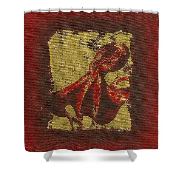 Spotted Red Octopus Shower Curtain