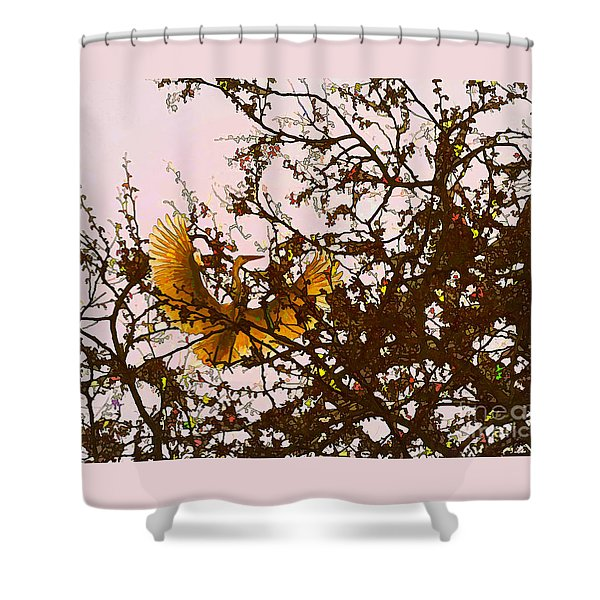 Shower Curtain featuring the photograph Spring Flight by Melinda Hughes-Berland
