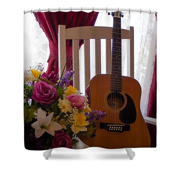 Spring Guitar Shower Curtain