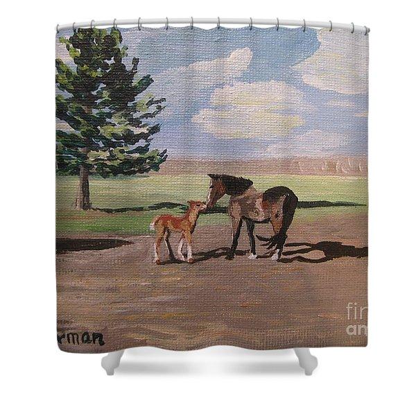 Springtime Foal Shower Curtain