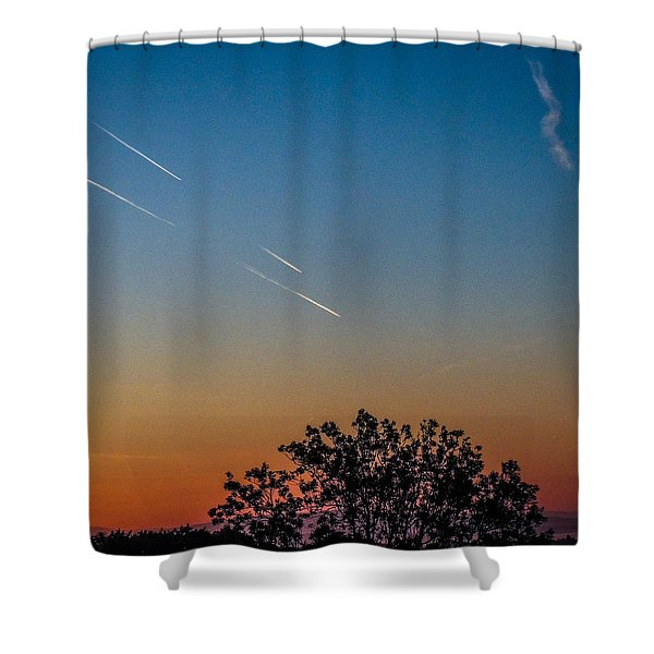 Squadron Of Jet Trails Over Ireland Shower Curtain