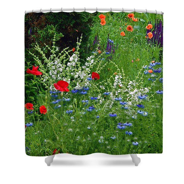 Squarely Spring Floral Garden Shower Curtain
