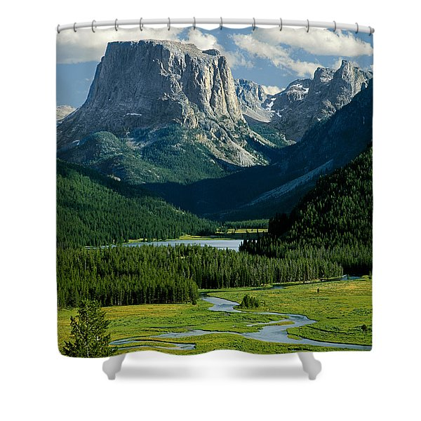 Squaretop Mountain 3 Shower Curtain