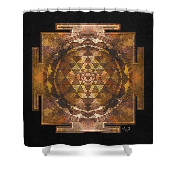 Sri Yantra Gold Shower Curtain