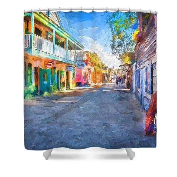 St George Street St Augustine Florida Painted Shower Curtain