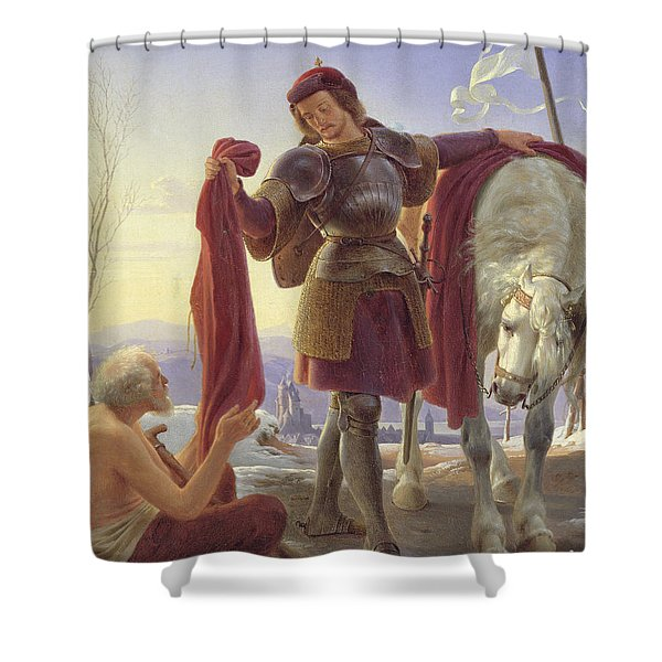 St. Martin And The Beggar, 1836 Oil On Canvas Shower Curtain
