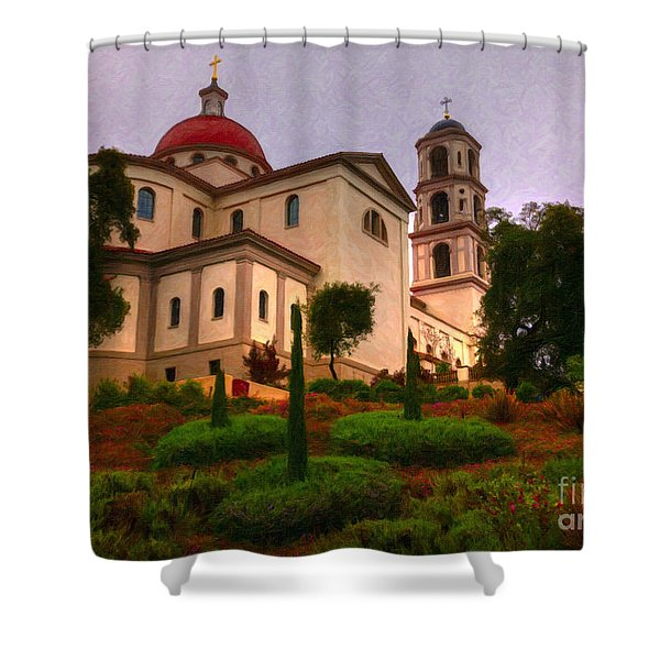 Shower Curtain featuring the painting St. Thomas Aquinas Church Large Canvas Art, Canvas Print, Large Art, Large Wall Decor, Home Decor by David Millenheft