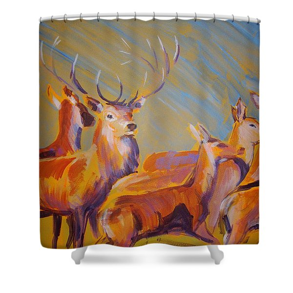 Stag And Deer Painting Shower Curtain