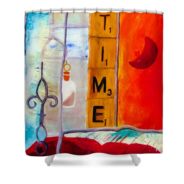 Shower Curtain featuring the painting Stained Glass Time by Keith Thue
