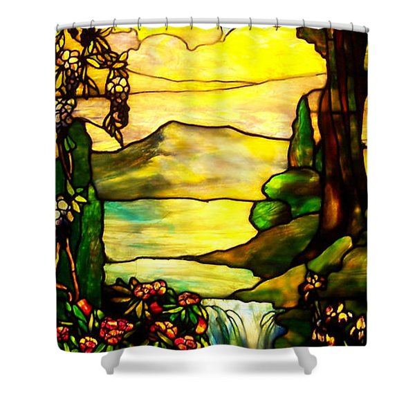 Stained Landscape 2 Shower Curtain