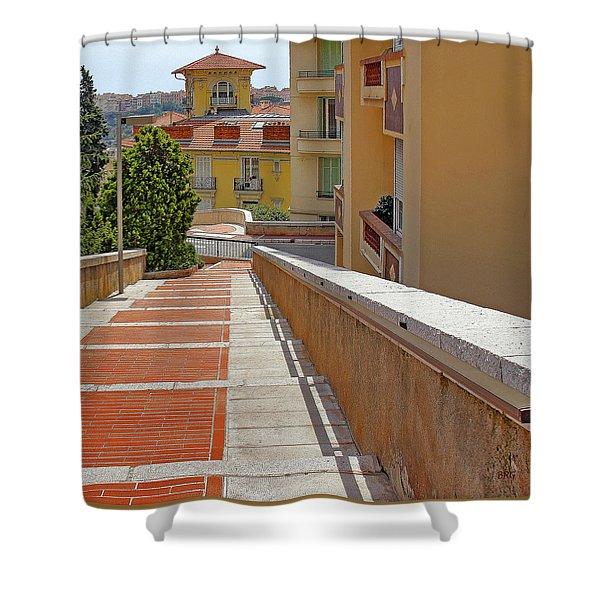 Stairway In Monaco French Riviera Shower Curtain