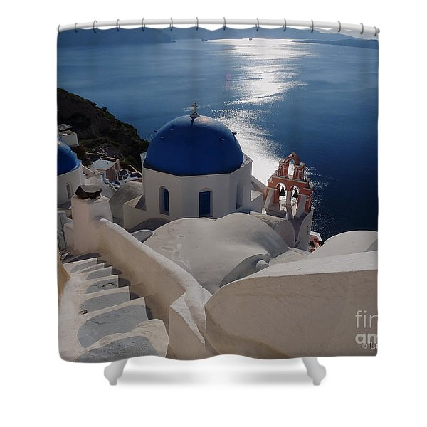 Stairway To The Blue Domed Church Shower Curtain