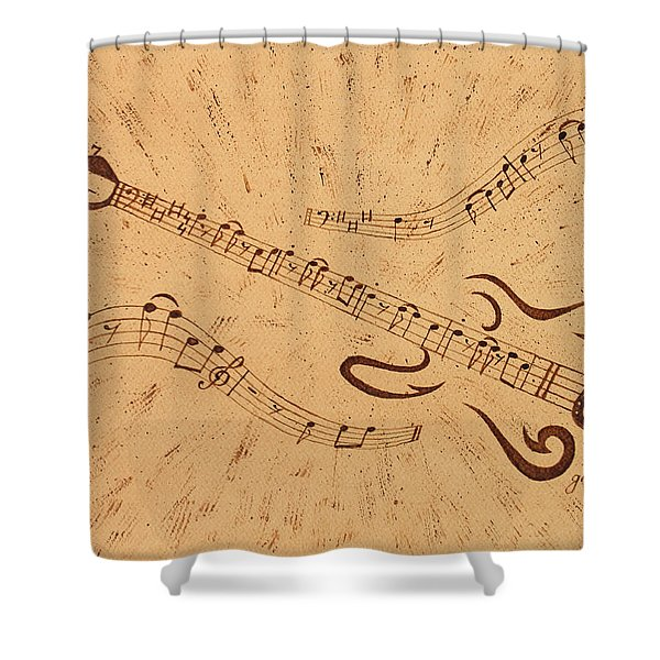 Stand By Me Guitar Notes Original Coffee Painting Shower Curtain