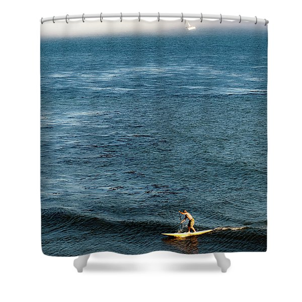 Stand-up Paddling At Sunset In Santa Shower Curtain
