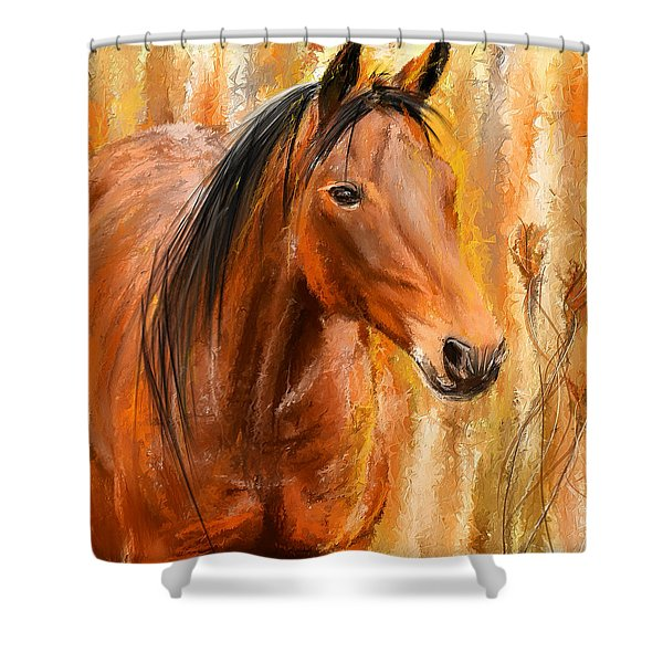 Standing Regally- Bay Horse Paintings Shower Curtain