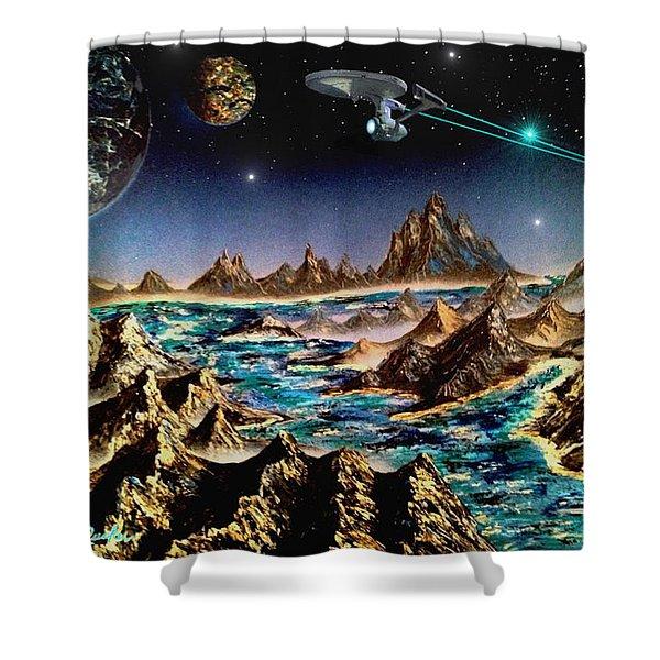 Star Trek - Orbiting Planet Shower Curtain