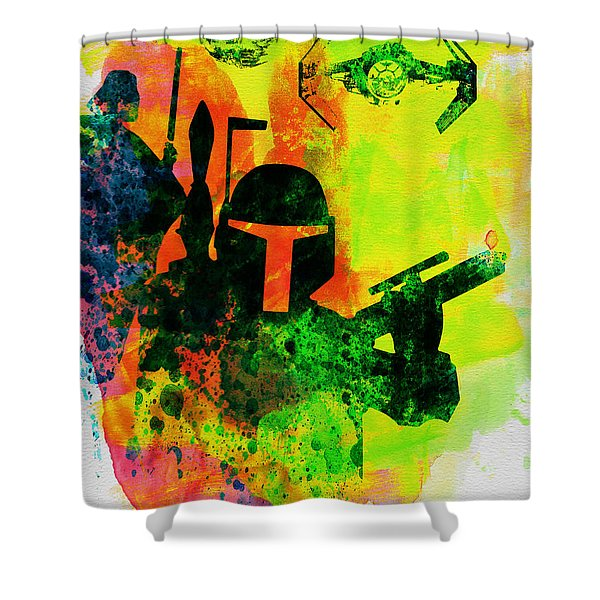 Star Warriors Watercolor 3 Shower Curtain