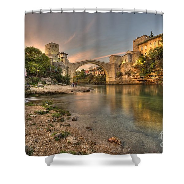 Stari Most At Dusk  Shower Curtain