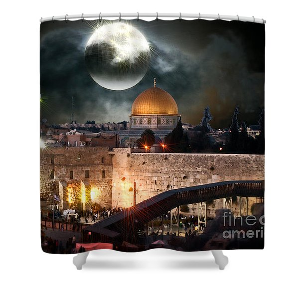 Full Moon Israel Shower Curtain
