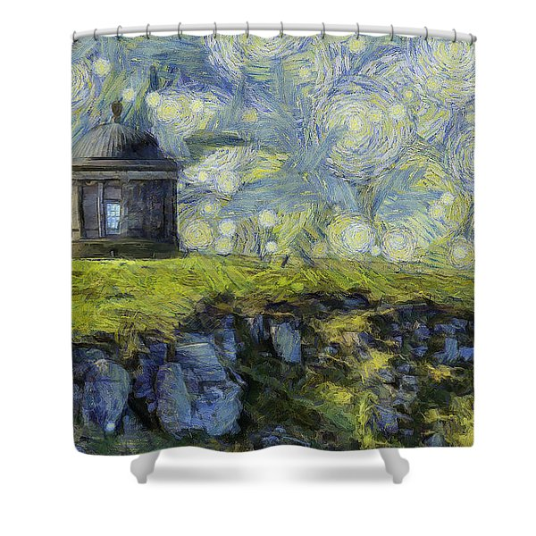 Starry Mussenden Temple Shower Curtain