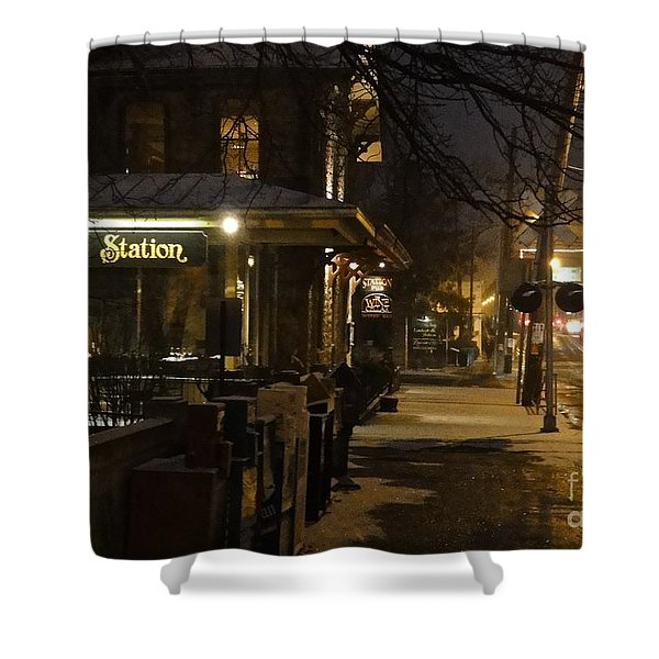Station In Snow Shower Curtain
