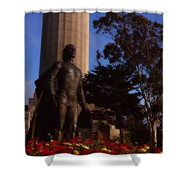 Statue Of Christopher Columbus In Front Shower Curtain