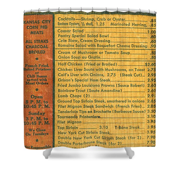Steak House Wooden Menu Shower Curtain