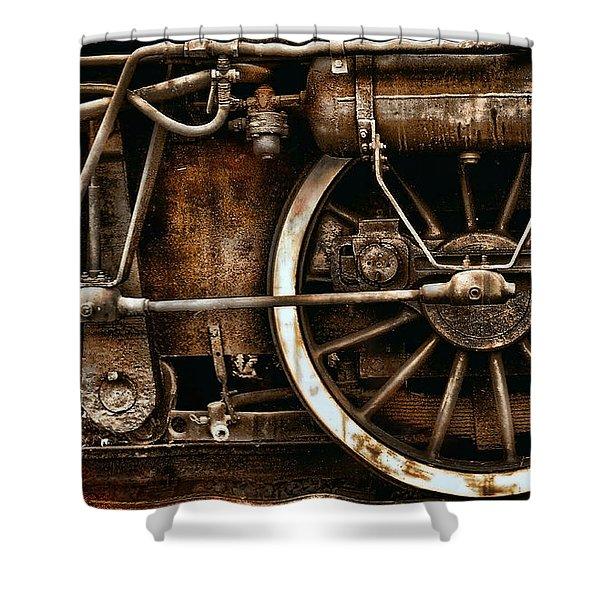 Steampunk- Wheels Of Vintage Steam Train Shower Curtain