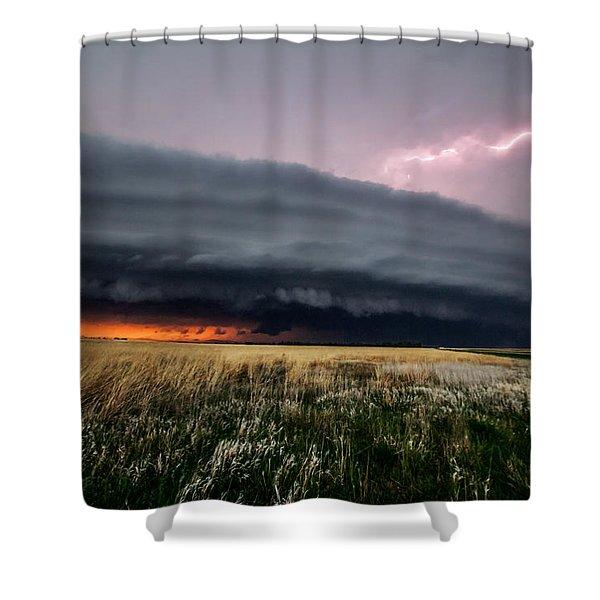 Steamroller - Storm Spans Horizon In Kansas Shower Curtain