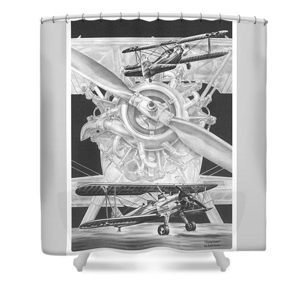 Stearman - Vintage Biplane Aviation Art Shower Curtain