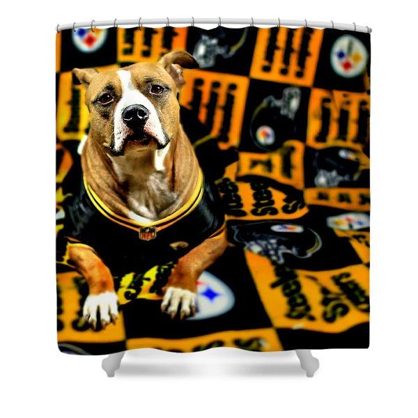 Pitbull Rescue Dog Football Fanatic Shower Curtain