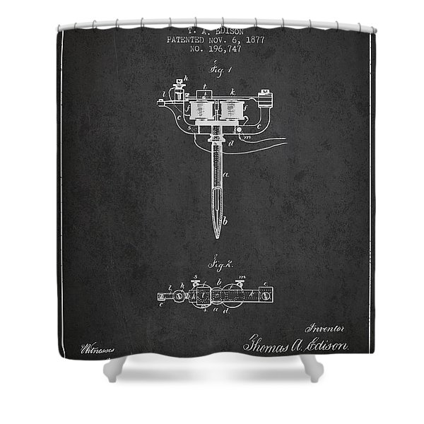 Stencil Pen Patent From 1877 - Charcoal Shower Curtain