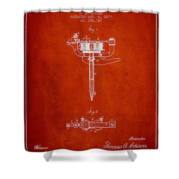 Stencil Pen Patent From 1877 - Red Shower Curtain