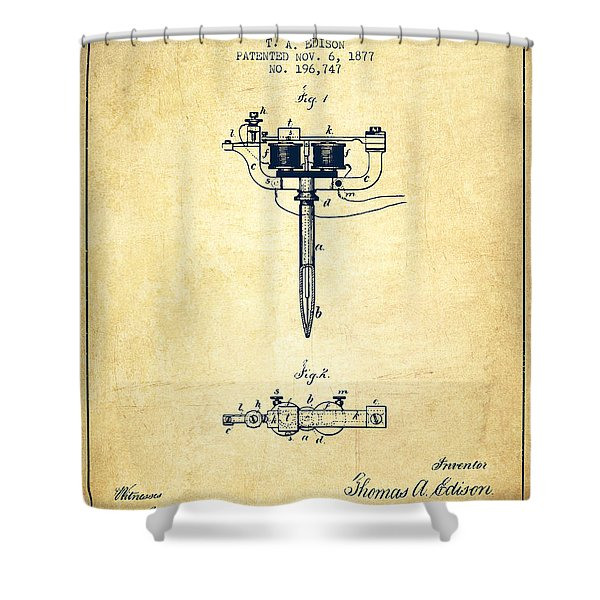 Stencil Pen Patent From 1877 - Vintage Shower Curtain
