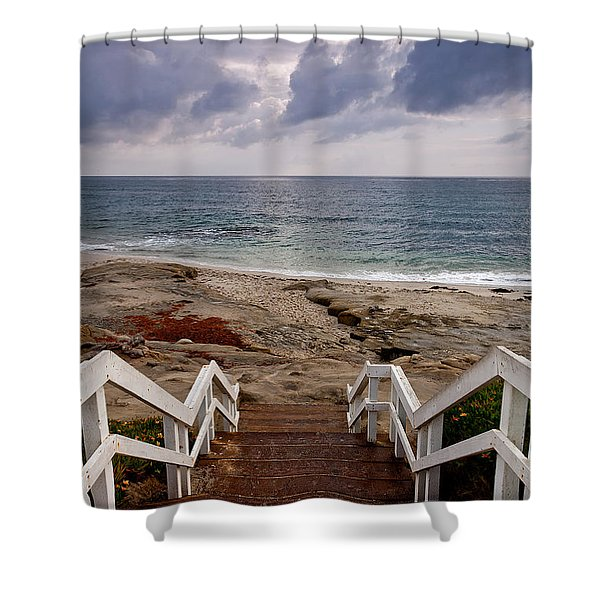 Steps And Pelicans Shower Curtain