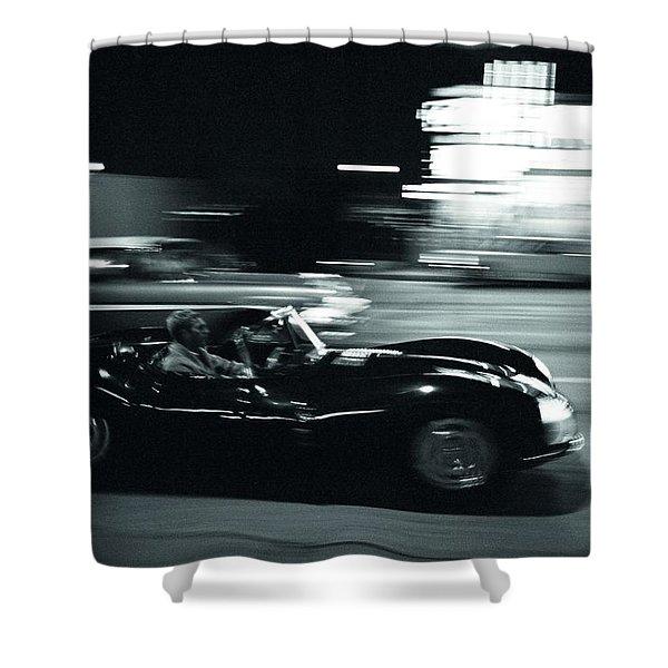 Steve Mcqueen Jaguar Xk-ss On Sunset Blvd Shower Curtain