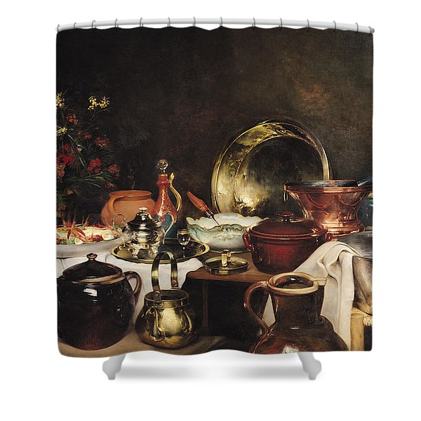 Still Life Oil On Canvas Shower Curtain