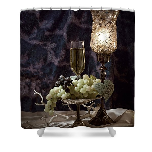 Still Life Wine With Grapes Shower Curtain