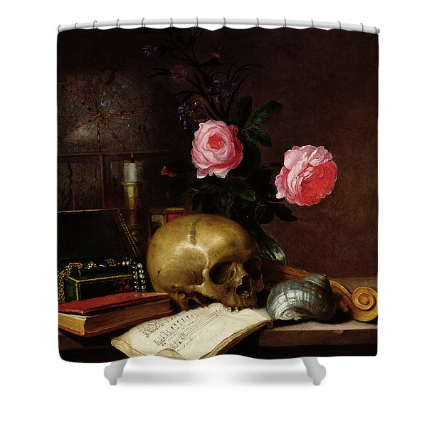 Still Life With A Skull Oil On Canvas Shower Curtain