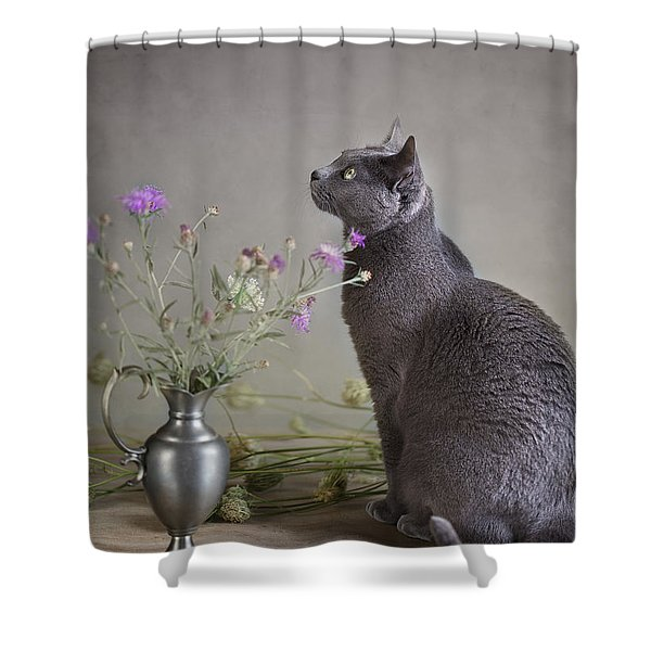 Still Life With Cat Shower Curtain
