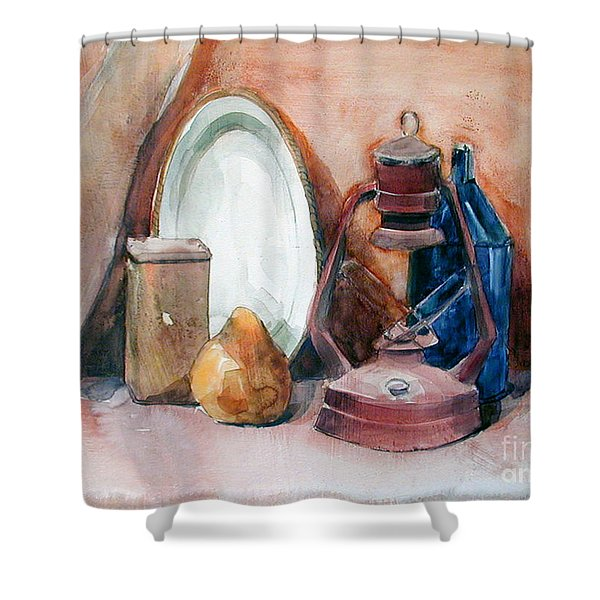 Watercolor Still Life With Rustic, Old Miners Lamp Shower Curtain