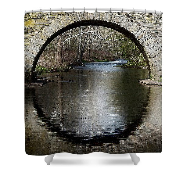 Stone Arch Bridge - Craquelure Texture Shower Curtain